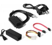 POWERTECH Converter USB 2.0 σε IDE & SATA CAB-U122, με τροφοδοσία, 0.8m