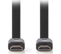 NEDIS CVGP34100BK20 Flat Καλώδιο HDMI υψηλής ταχύτητας με Εthernet, 2m