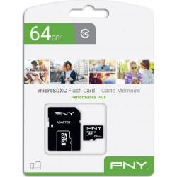 PNY P-SDU64G10PPL-GE 64GB. Κάρτα μνήμης microSDXC, UHS-I U1 64GB,έως και 100 MB/s, με αντάπτορα SD