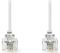 NEDIS TCGP90200WT100| Tηλεφωνικό καλώδιο RJ11 αρσ. - RJ11 αρσ. 10.0 μ., λευκό